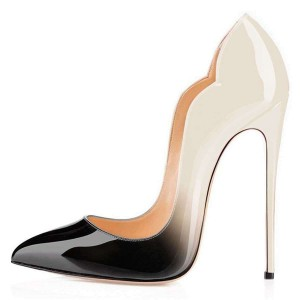 Beige and Black Office Heels Pointed Toe Pumps Gradient Color Shoes