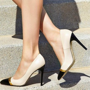 Beige and Black Stiletto Heels Pumps for Office Lady
