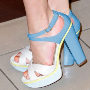 Beige and Blue Chunky Heel Sandals Peep Toe Platform High Heels