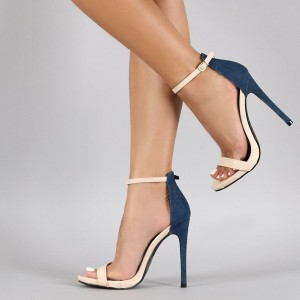 Beige and Navy Jean Heels Ankle Strap Denim Stiletto Heel Sandals