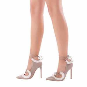 Nude Strappy Heels Pointy Toe Lace up Fringe Stiletto Heel Pumps
