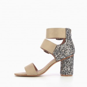 Khaki Block Heel Sandals Glitter Heels Suede Summer Sandals