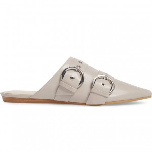 Beige Buckle Women's Mule Pointed Toe Flats