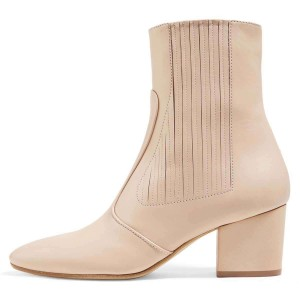 Beige Chunky Heel Boots Ankle Boots