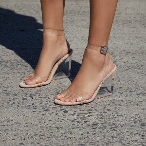 Khaki Clear Sandals Ankle Strap Wedge Heel Sandals