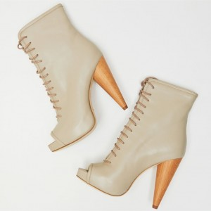 Beige Cone Heel Lace up Boots Platform Peep Toe Booties