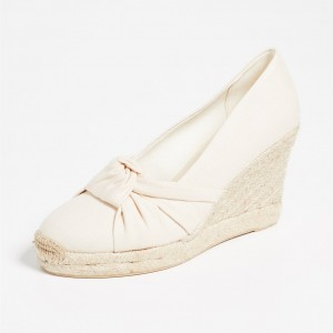 White Espadrille Wedges Wedding Shoes Round Toe Platform Pumps