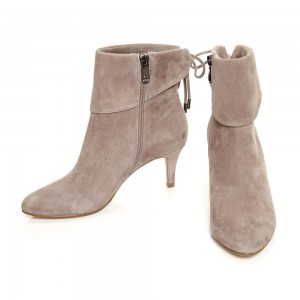 Taupe Boots Fold Over Kitten Heel Back Laced Suede Ankle Boots