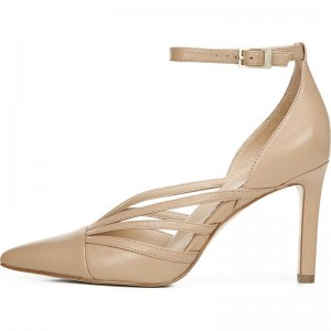 Beige Hollow out Ankle Strap Sandals Stiletto Heel Sandals