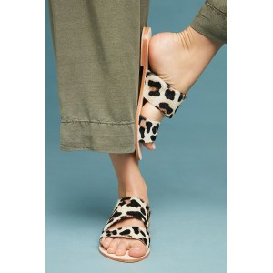Beige Horse Fur Leopard Print Summer Comfortable Flats Cut Out Mules