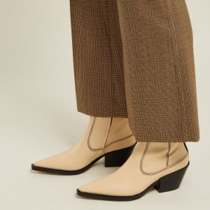 Beige Knitting Square Toe Block Heel Ankle Booties