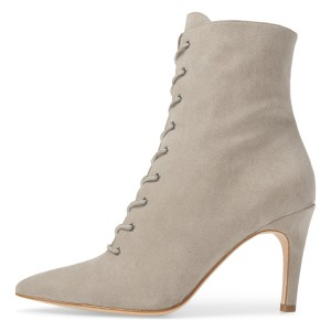 Beige Lace up Boots Elegant Pointed Toe Ankle Booties with Zipper