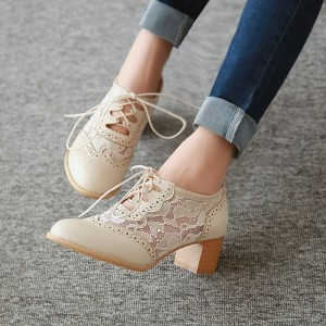 Beige Oxford Heels Round Toe Lace Block Heel Vintage Shoes