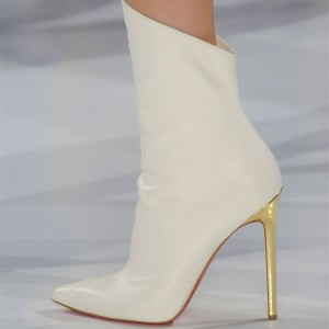 Beige Pointy Toe Stiletto Boots High Heel Fashion Ankle Booties