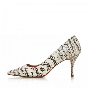 Beige Python Pointy Toe Stiletto Heels Pumps