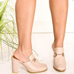 Beige Loafer Mules Square Toe Chunky Heels Loafers for Women