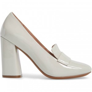 Beige Round Toe Patent Leather Block Heel Loafers for Women