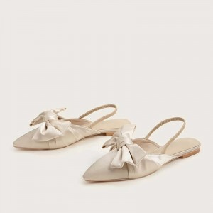 Beige Satin Bow Slingback Shoes Pointed Toe Flats