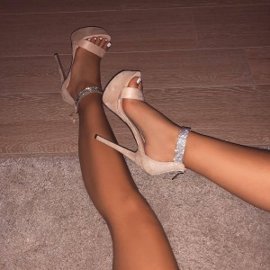 Beige Stiletto Heels Open Toe Sparkly Platform Ankle Strap Sandals
