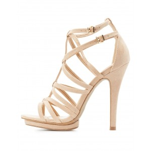 Beige Strappy Sandals Platform High Heels for Women