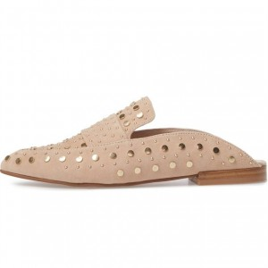 Beige Studs Flat Mule Loafers for Women