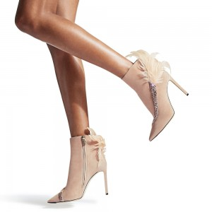 Beige Suede Boots Feather Decorated Stiletto Heel Ankle Booties