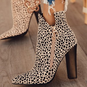 Beige Suede Leopard Print Boots Zipper Chunky Heel Ankle Boots