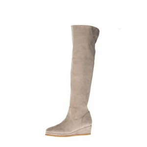 Beige Suede Long Boots Platform Heel Knee-high Boots