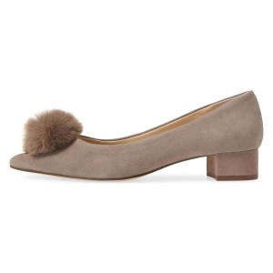 Beige Suede Shoes Ball Chunky Heel Pumps