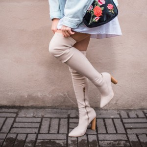 Beige Zipper Pointy Toe Chunky Heel Boots Over-the-knee Boots