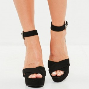 Black Platform Cross Over Ankle Strap Clear Chunky Heels Sandals