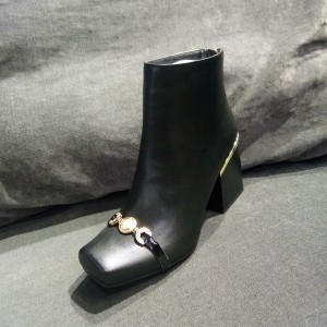 Black Square Toe Boots Block Heel Ankle Boots with Gold Hardware