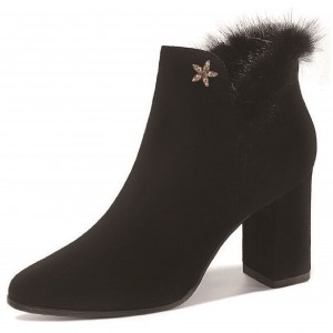 Black Accessories Decorated Furry Block Heels Ankle Boots
