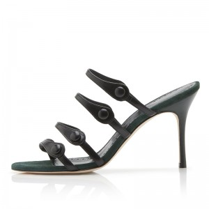Black Agraffe Stiletto Heel Mule Sandals