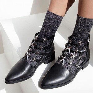 Black Almond Toe Hollow Out Studs Shoes Flat Ankle Boots