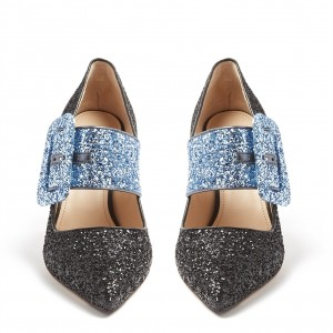 Black and Blue Buckle Glitter Shoes Spool Heel Pumps
