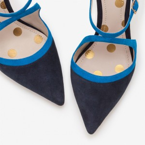 Black and Blue Suede Pointy Toe Stiletto Heels Pumps