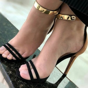 Black and Brown Ankle Strap Sandals Stiletto Heel Sandals