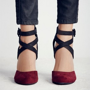 Women's Burgundy and Black Chunky Heels Pointy Toe Ankle Strap Pumps