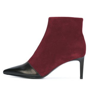 Black and Maroon Joint Stiletto Heel Ankle Booties