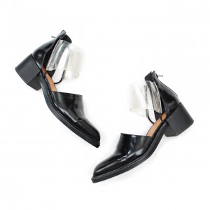 Black and Clear Low Heel Casual Shoes for Women
