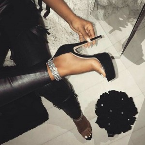 Black Ankle Strap Sandals Rhinestone Stiletto Heels Platform Sandals