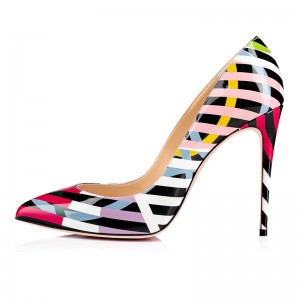 Black and Colorful Strip Patent Leather Stiletto Heels Pumps