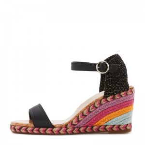 Black and Colorful Wedge Heels Sandals