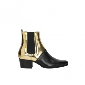 Black and Gold Chelsea Boots Block Heel Rivets Ankle Booties