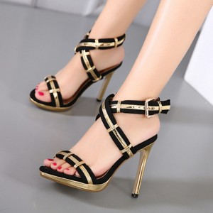 Black and Gold Crossed-over Strap Stiletto Heels Slingback Sandals