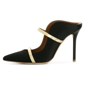 Black and Gold Double Straps Stiletto Heel Mules