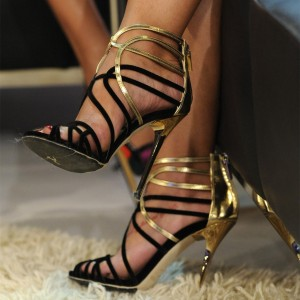 Black and Gold Evening Shoes Stiletto Heels Ankle Strap Sandals