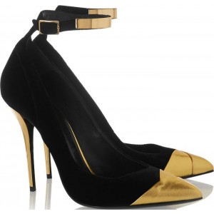 Black and Gold Ankle Strap Heels Stilettos Pumps Metallic Heels