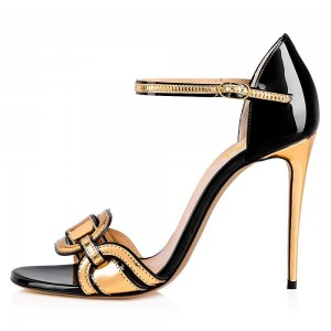 Black and Gold Open Toe Stiletto Heel Ankle Strap Sandals